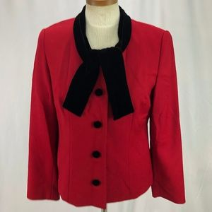 Talbots Women's Red Wool Blazer Velvet Collar 6